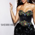 Rochie Sherri Hill Feather Shine Black