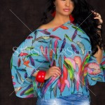 Bluza albastra Colourful Feather
