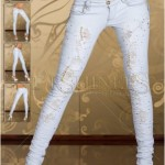 Jeans albi dama