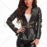 Jacheta din piele ecologica neagra