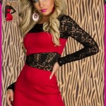 Rochie rosie cu dantela