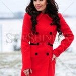 Palton rosu de lana