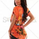 Bluza portocalie cu flori