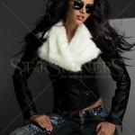 Jacheta neagra cu blana alba