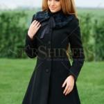 Palton negru cu blana