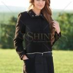 Palton negru din stofa si fas
