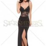 Rochie lunga cu dantela neagra