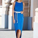 Rochie albastra asimetrica