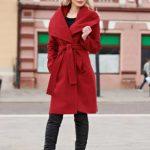 Palton rosu cu guler