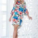 Rochie din satin cu flori