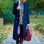 Palton lung albastru-inchis