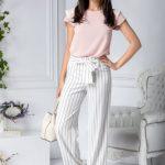 Pantaloni vaporosi de vara albi cu dungi