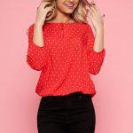 Bluza rosie cu buline