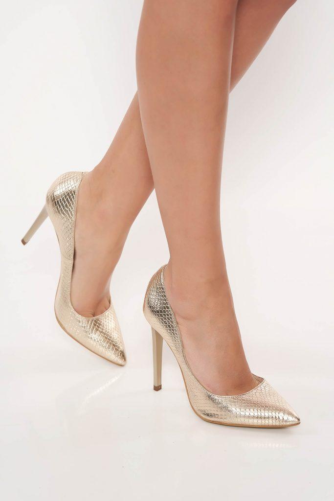 Pantofi stiletto aurii piele naturala