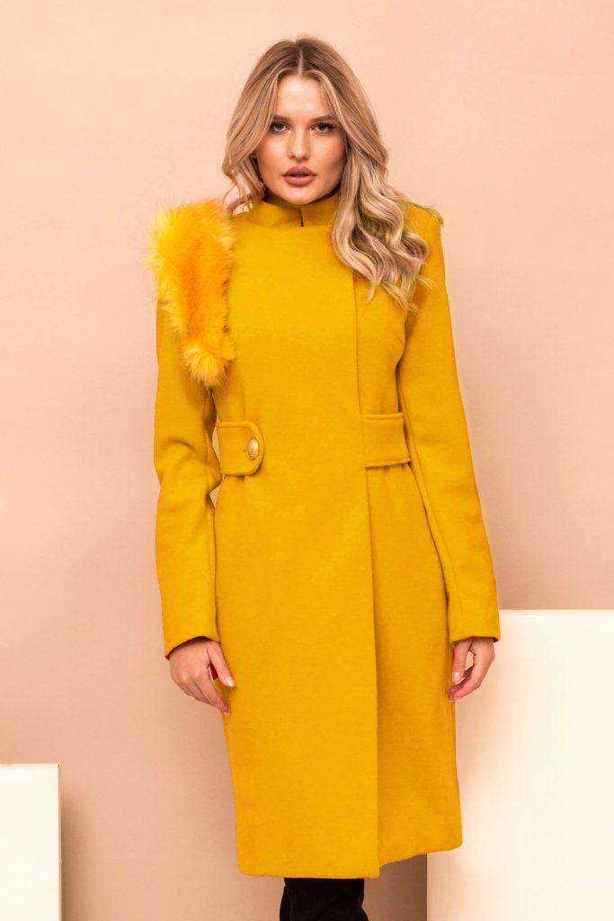 palton elegant mustariu