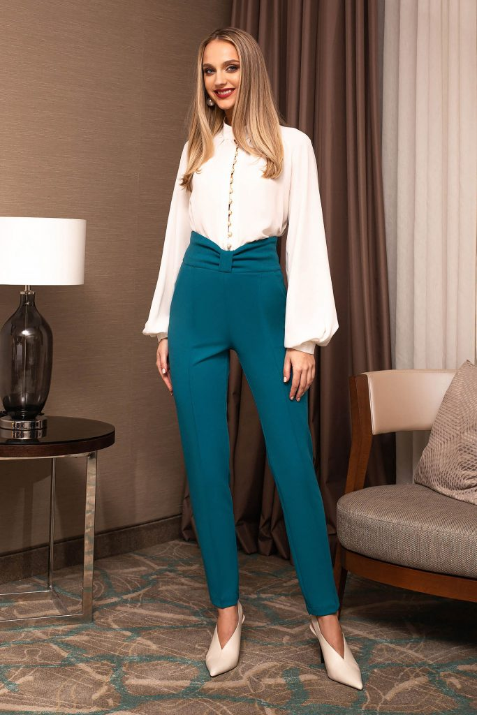 pantaloni dama turcoaz din stofa