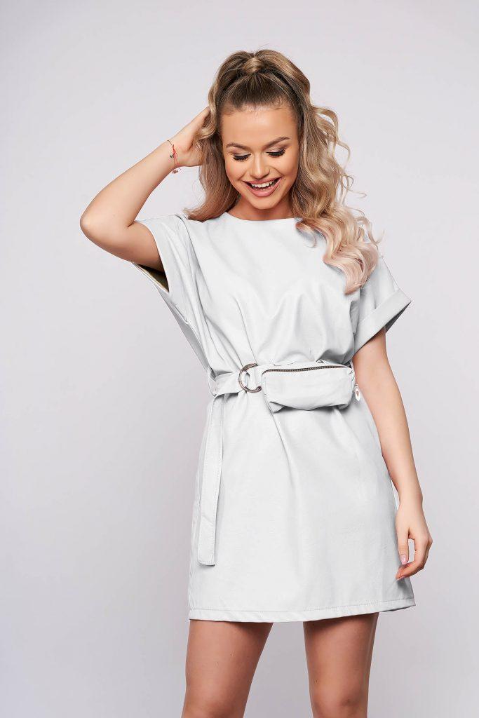 rochie pilele ecologica alba scurta cu borseta
